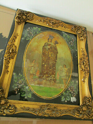 Antique Reverse Painting Madonna Child And Angels