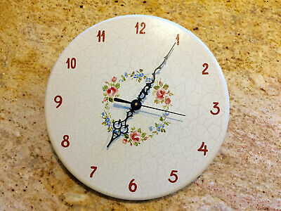 Vintage Hand Crafted Danish Wooden Wall Clock NEW QUARTZ MOVEMENT Floral Ring B
