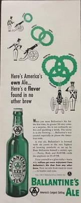 ORIGINAL 1940 Ballantine's Ale Print Ad America's Own Ale Purity Body Flavor