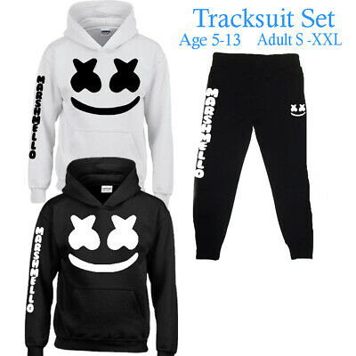 DJ Marshmello Mask Boys Girls Mens Womens Hoodie Top Tracksuit Set, Music Hits.