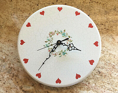 Vintage Hand Crafted Danish Wooden Wall Clock NEW QUARTZ MOVEMENT Floral Hearts