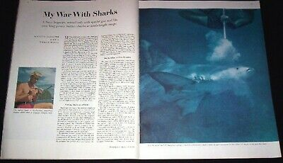Navy Frogman 1962 Battles Sharks With A Special Gun & Lung Power Pictorial