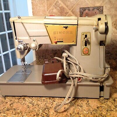 Vintage Singer 328K Sewing Machine Style-o-Matic Heavy Duty w/ pedal
