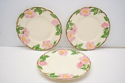 """Lot of 3 Franciscan Desert Rose 8"""" Inch Salad Luncheon Plates Dishes"""
