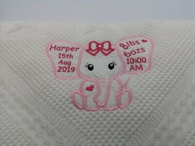 Elephant Personalised Luxury Embroidered Baby shawl  Birth Details Soft Fluffy
