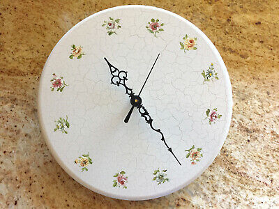 Vintage Hand Crafted Danish Wooden Wall Clock NEW QUARTZ MOVEMENT Outer Flower