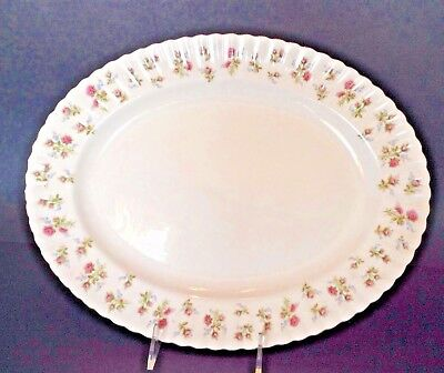 Royal Albert 15 Inch Oval Serving Platter - Winsome Pattern - Gold Rim - England