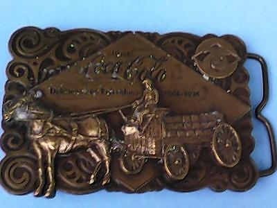 Vintage 1976 Coca-Cola 75th Anniversary Belt Buckle Brass Bottle Opener on Back