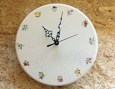 Vintage Hand Crafted Danish Wooden Wall Clock NEW QUARTZ MOVEMENT 12 Flowers