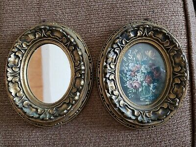 Vintage Ornate Picture Frames Italy Plastic Pair floral mirror