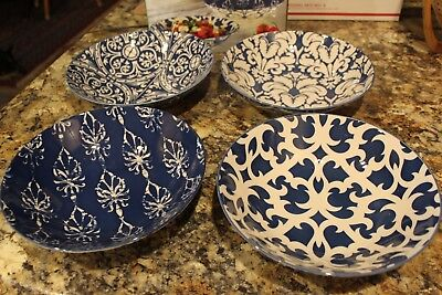 "Certified International - 4 All Purpose 9"" Porcelain Bowls - Blue / White"