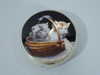 Antique Compact - Kitty Cats in a Basket Vanity   Austrian Silver Gilt & Enamel