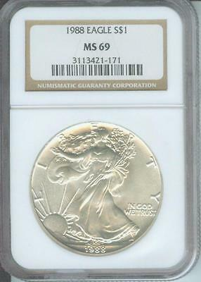 1988 American Silver Eagle ASE S$1 NGC MS69 Premium Quality BEAUTIFUL P.Q.