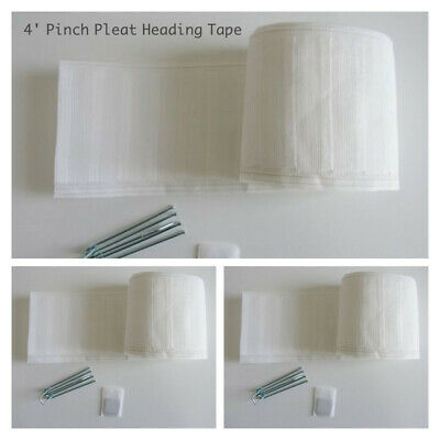 "10mtr PINCH PLEAT 4"" CURTAIN HEADING TAPE IN WHITE -  WHITE  - *100% POLYESTER*"