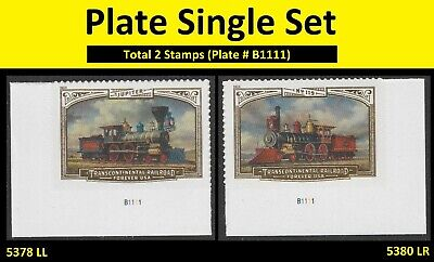 US 5378 5380 Transcontinental Railroad forever plate single set MNH 2019