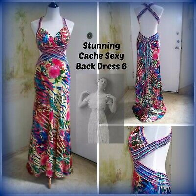 CACHE Sexy Back Beaded, Sequined & Pleated Trained Multi-color Party Dress sz 6