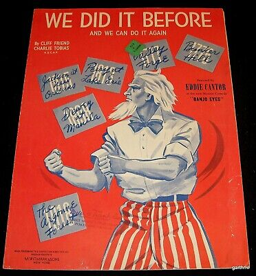 Fist Fighting Uncle Sam 1941 Eddie Cantor Wwii Art Music Sheet We Did It Before