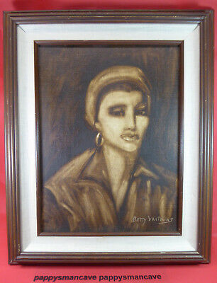 VINTAGE~BETTY WATKINS~ OIL PAINTING~FRAMED PORTRAIT~ SIGNED                  a65