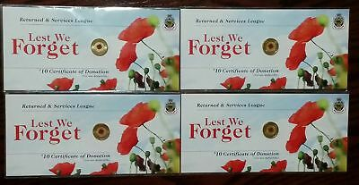 4 x Rare Australia 2012 Rememberance Day Red Poppy $2 Two Dollar Carded RSL Coin