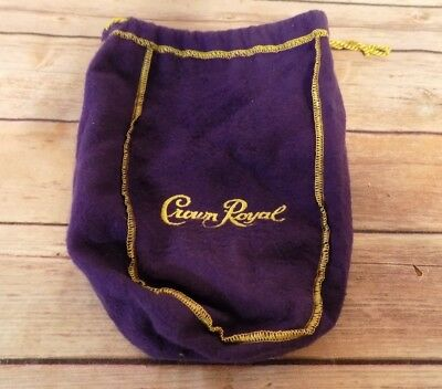 "Crown Royal Purple Felt Bag Drawstring Gold Stitching 9""x7"""