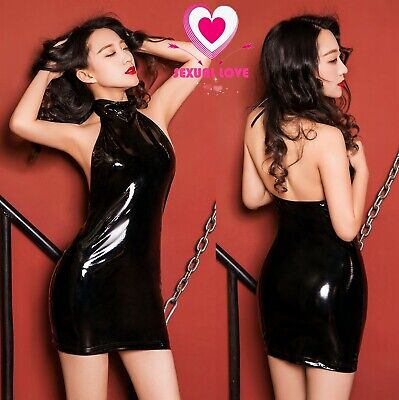 Abito Vestito Latex Aderente Clubwear Dominatrice Lucido Gonna Mistress Scollato