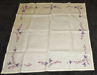 Tablecloth Ecru Hand Painted Pure Linen To Embroider Pink Purple Flower Edge 35""