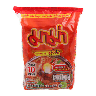 Mama Tom Yum Goong Hot & Spicy Creamy Thai Instant Noodle Shrimp Flavor 55g x 10