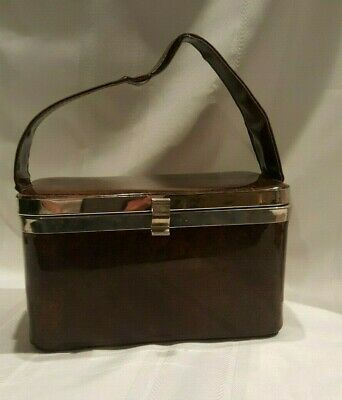 Vintage Brown Vinyl Box Purse - Retro - Mod - Chrome Accents