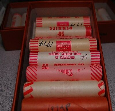 Lot Of (Five) Original Bankwrapped Rolls Of 1974 P Lincoln Memorial Cents