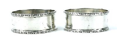 Antique Sterling Silver Napkin Rings Pair Floral Monogrammed Chester 1915