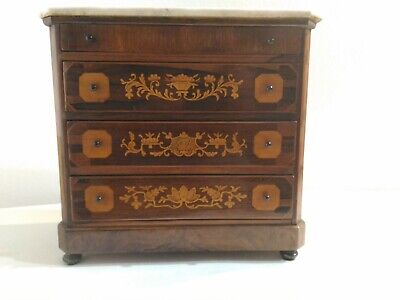 Model Antique Dresser Furniture 4 Drawers Inlays and Level Marble half '800