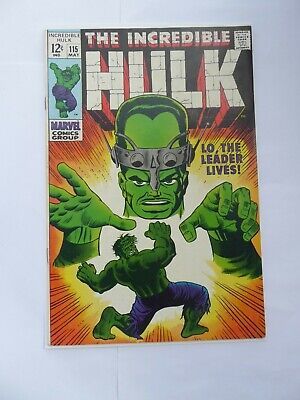 """INCREDIBLE HULK #115_MAY 1969_""""LO, THE LEADER LIVES""""SILVER AGE MARVEL FN+ cents!"""