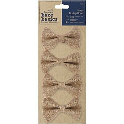 Papermania 4-piece Bare Basics Large Burlap Bows, Brown