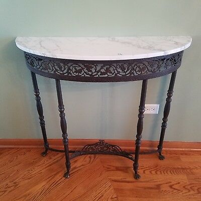 Antique French Marble Iron  Brass Console Foyer Entryway Wall Table Paw Foot VTG