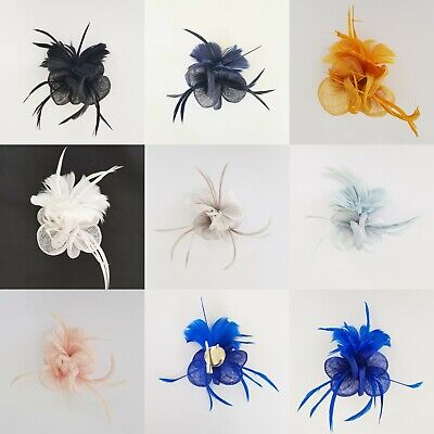 Small Flower Feather Wedding Hat Fascinator Brooch Clip Prom Party Royal Ascot
