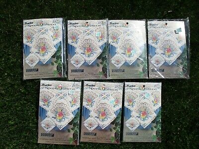 """Bucilla Special Edition Fans Cross Stitch Quilt Squares 15"""" 64515 Lot of 7 Queen"""