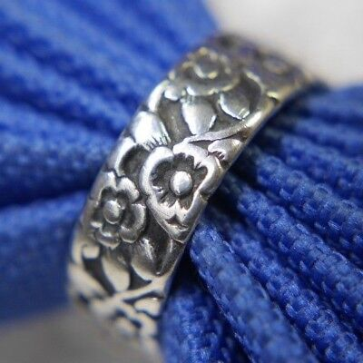 Forget Me Not Flower 0.925 STERLING SILVER Wedding Band Antique Ring size 6.75