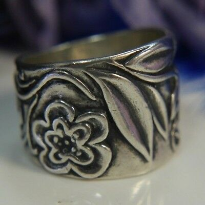 "Vintage Israel Flower 5/8"" wide band 0.925 Sterling Silver Ring size 5.5"