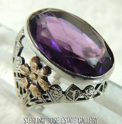 VINTAGE 16 x 13mm PURPLE STONE STERLING SILVER VERMEIL flower RING sz 7.5