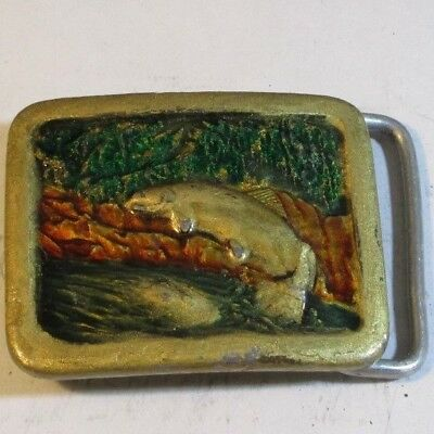 Vintage ~ 1977 Trout jumping out of a River, Belt Buckle. Indiana Metal Craft