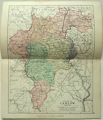 Original 1882 Map of The County of Carlow, Ireland by George Philip. Antique