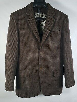 DKNY Mens Wool Cashmere Brown Houndstooth Plaid 2 Button Blazer Jacket M