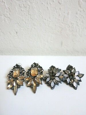 Lot of (2) Anthropologie Statement Rhinestone Cluster Post Earrings *2 Pairs*