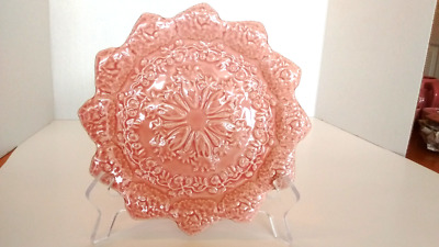 "Bordallo Pinheiro Rabbit Pink Portugal, Scalloped Accent Salad Plate 8 1/4"" New"