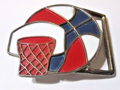 Fun Red White Blue Enamel Novelty Belt Buckle Basketball And Hoop Vintage