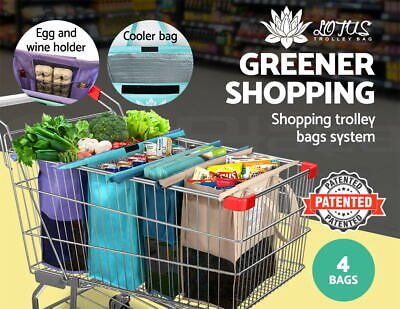 Lotus Reusable Trolley Bag- W insulated cooler bag + Patented Egg & Wine pockets