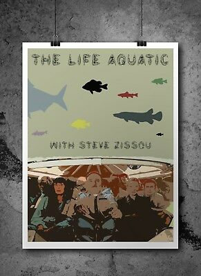 The Life Aquatic with Steve Zissou Inspired Retro Movie Print Wes Anderson A4 A3