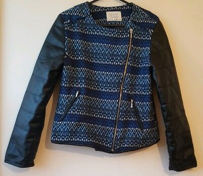 Zara Girls Jacket Blue 13 14 Years Cotton Faux Leather Patterned Double Breasted