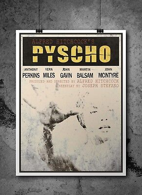 Psycho Inspired Retro Movie Print/ Poster A3 A4- Hitchcock, Film Poster, Fan Art