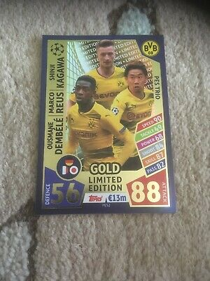Match Attax Ucl 2018 Pes2 Trio Gold Borussia Dortmund Limited Edition Rare